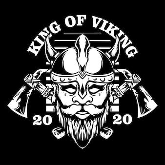 Vintage viking head illustratiom isolated on black background