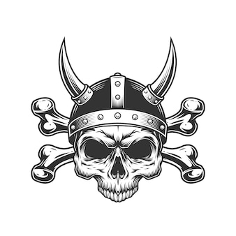 Vintage viking skull in horned helmet