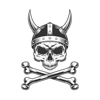 Винтажный череп викинга в рогатом шлеме