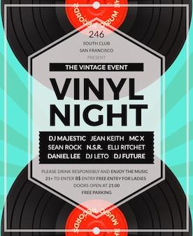 Poster festa dj in vinile vintage lp. discoteca e suono, festa audio musicale