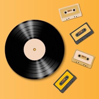 ヴィンテージビニールレコードディスクとテープカセット