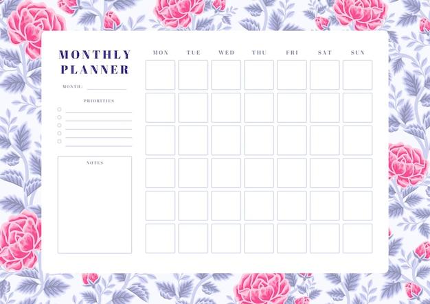 빈티지 바이올렛과 핑크 장미 꽃 월간 플래너 템플릿