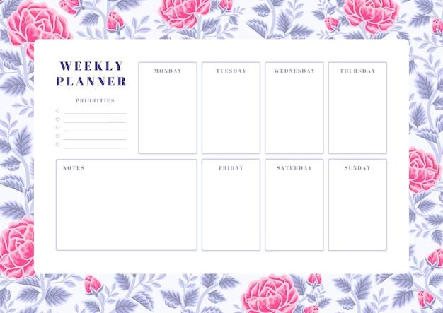 빈티지 바이올렛과 핑크 장미 꽃 주간 플래너 템플릿