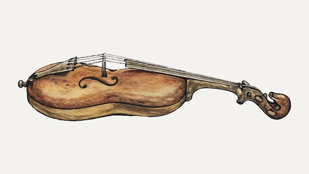 Illustrazione vettoriale di violino vintage, remixata dall'opera d'arte di augustine haugland