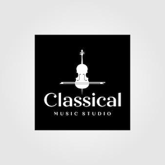 빈티지 바이올린 또는 첼로 로고