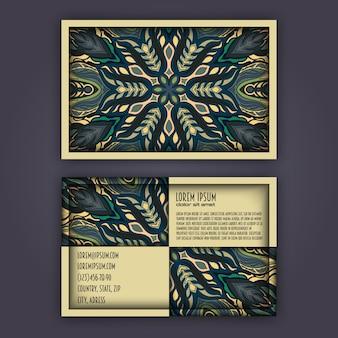 Vintage visiting card set with floral mandala pattern.