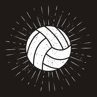 Vintage volleyballl with sunburst on grunge background