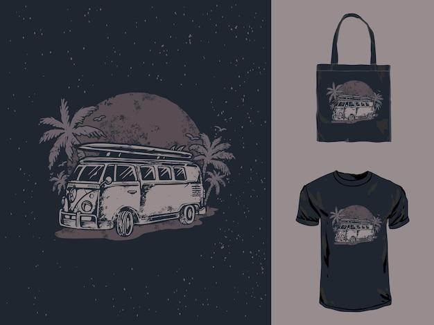 Винтажный вагон автомобиль рисованной иллюстрации