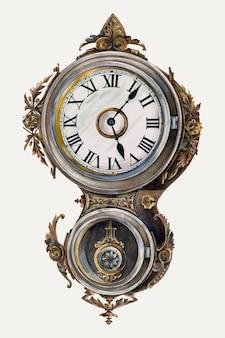 Винтажные настенные часы векторная иллюстрация, ремикс из работы питера коннина