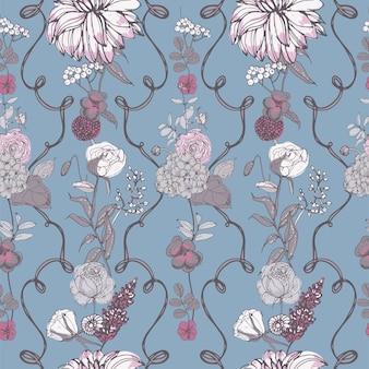 빈티지 바탕 화면 배경입니다. 꽃과 꽃 완벽 한 패턴입니다. 다채로운 벡터 일러스트 레이 션.