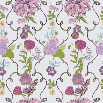 Винтажные обои фон. цветочный фон с цветами.
