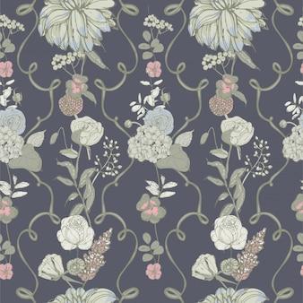 빈티지 바탕 화면 배경입니다. 꽃과 꽃 원활한 패턴