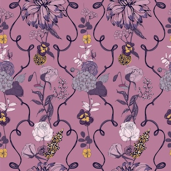 Vintage wallpaper with flowers