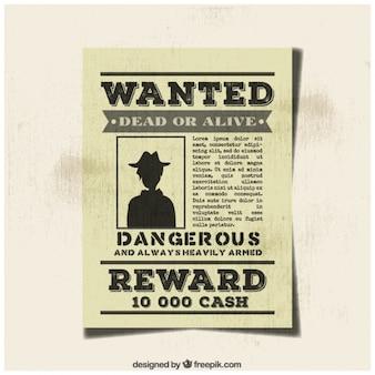 빈티지 원하는 범죄 포스터
