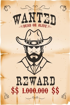 Vintage wanted poster template with old paper texture background. wild west theme.  illustration