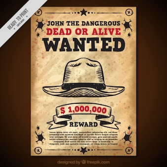 Vintage wanted poster with hat and red details