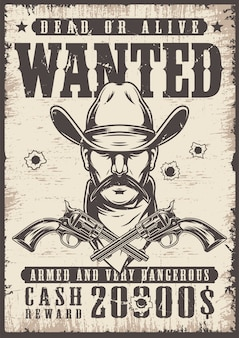 Vintage wanted wild west poster