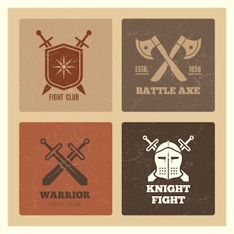 Vintage warrior sword and shield labels