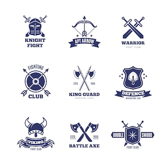 Vintage warrior sword and shield logos. knight vector badges. heraldry coat of arms logos