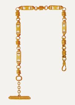 Vettore dell'illustrazione della catena dell'orologio vintage, remixato dall'opera d'arte di tulita westfall Vettore gratuito