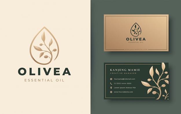 Vintage water drop / olive oil logo and business card design