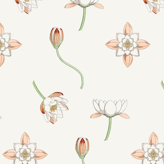 Vintage water lily flower pattern