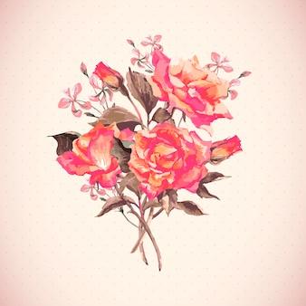 Vintage watercolor blooming roses