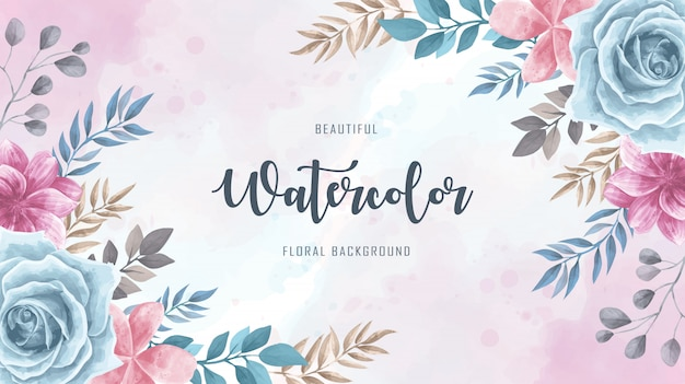 Vintage watercolor floral flower background