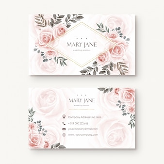 Vintage watercolor floral flower busines card