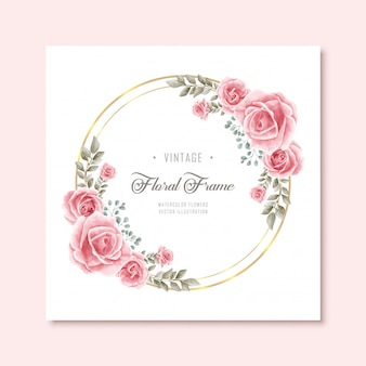 Vintage watercolor floral flowers frame with golden circle