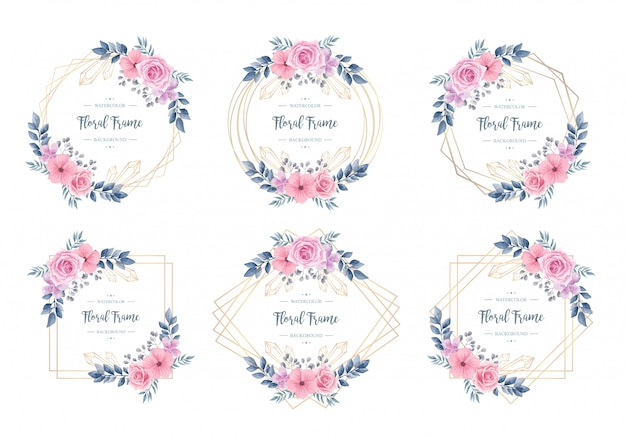 Vintage watercolor floral frame collection set