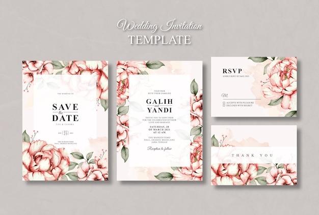 빈티지 수채화 꽃 결혼식 초대 카드 서식 파일