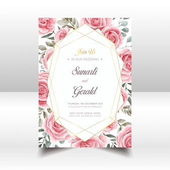 Vintage watercolor floral wedding invitation card template