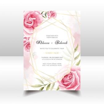 Vintage watercolor floral wedding invitation card
