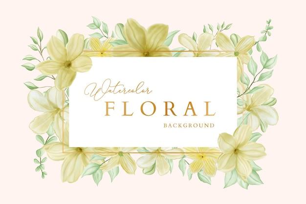 Vintage watercolor floral with golden frame