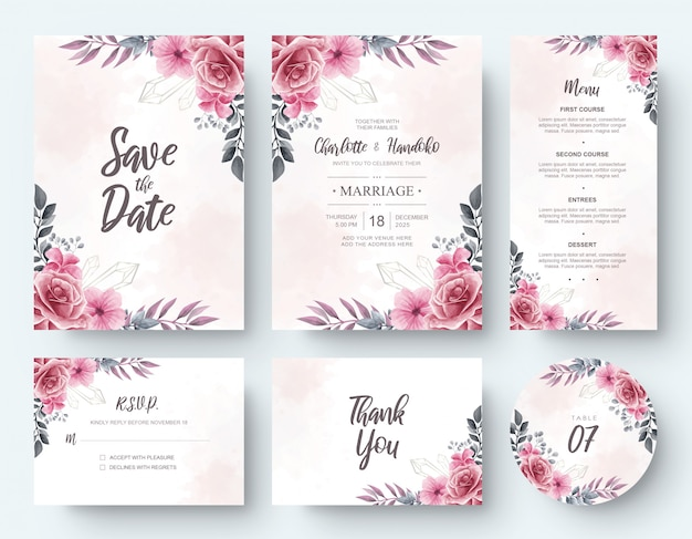 Vintage watercolor flower wedding invitation card stationery set