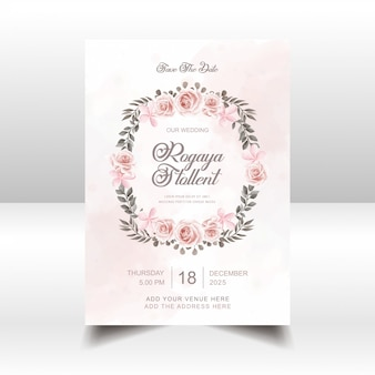 Vintage watercolor flowers wedding invitation card template