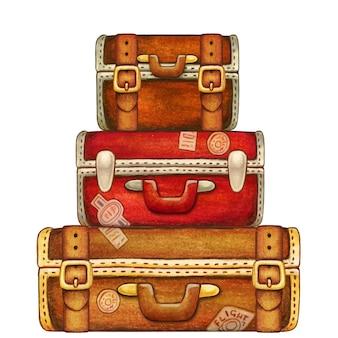 スーツケースのヴィンテージ水彩手描きスタック