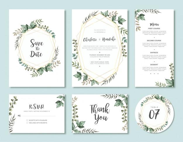 Vintage watercolor leaves wedding invitation card template set