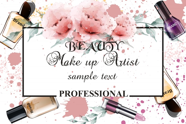 Vintage watercolor professional make up