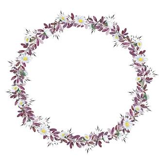 빈티지 수채화 작은 보라색 흰색 꽃 화환 프레임