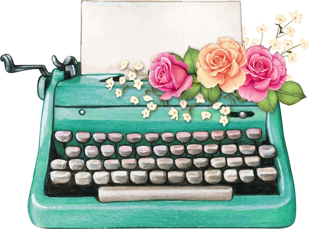 Vintage watercolor turquoise typewriter blank sheet and pink roses