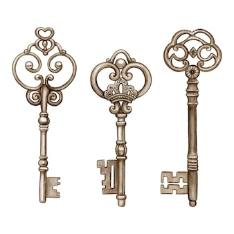 Vintage watercolor victorian skeleton keys