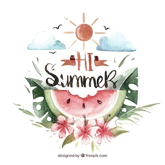 Vintage watercolor watermelon summer background with floral decoration