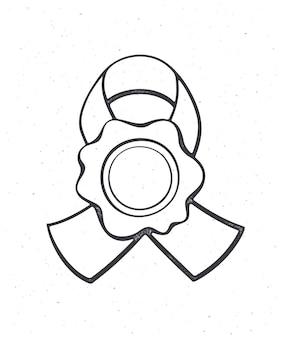 リボン付きヴィンテージワックスシールメール用セキュリティスタンプ秘密のメッセージのシンボルアウトラインベクトル