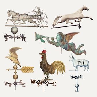 パブリックドメインコレクションからリミックスされたヴィンテージ風見鶏イラストベクトルセット