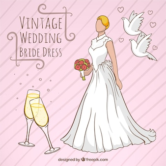 Vintage wedding bride dress design