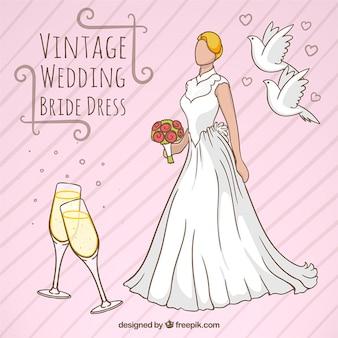 Sposa vintage disegno del vestito della sposa