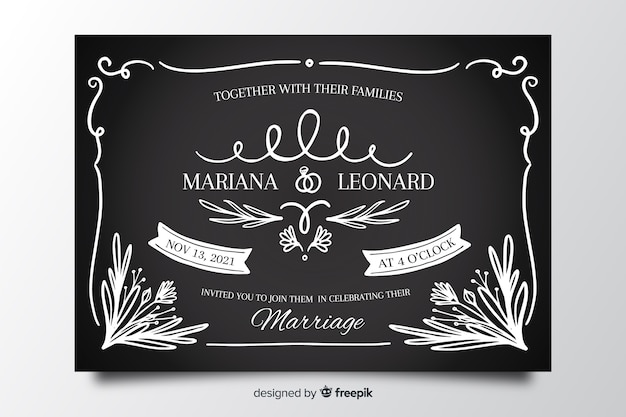 Vintage wedding card template on blackboard