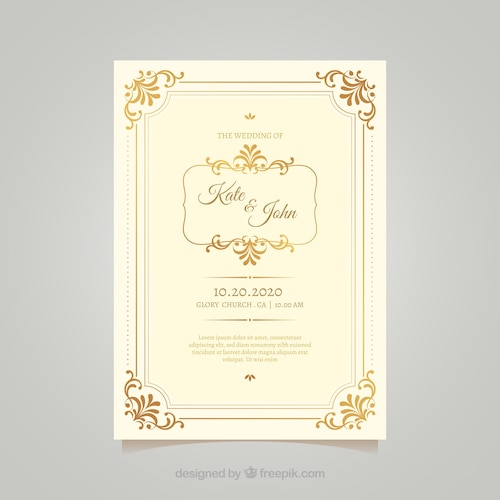 Vintage wedding card template with elegant style